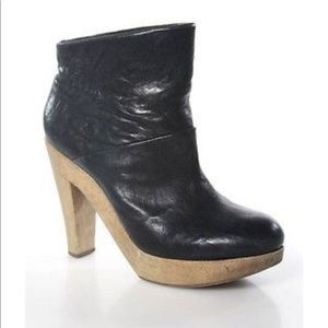 Theory leather platform ankle boot